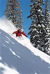 Woman Skiing in Monashee Range, British Columbia, Canada