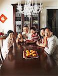 Portrait of Family in Elegant Dining Room