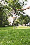 Chien saute en l'Air pour attraper le bâton