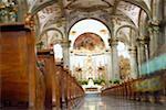Interiors of an ornate church, Mexico City, Mexico