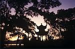 Silhouette of a shrine, China