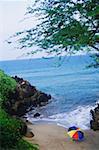 High angle view of a beach umbrella and rocks on the beach, Hawaii, USA