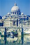 Arch bridge across a river in front of a basilica, St. Peter's Basilica, Vatican City