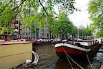 Bateaux sur le Canal, Amsterdam, Hollande