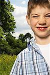 Portrait of Boy Making Faces