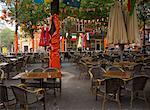 Empty Beer Garden in Leidseplein, Amsterdam, Netherlands