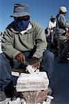 Man Sculpting Salt, Salinas Grandes, Argentina