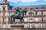 Statue, Plaza Mayor, Madrid, Spain
