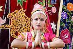 Portrait of a female performer dancing, Elephant Festival, Jaipur, Rajasthan, India