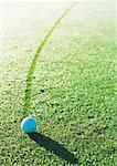 Balle de golf sur couvertes de rosée vert