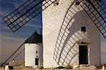 Extérieur de moulins à vent, Castilla La Mancha, Province de Ciudad Real, Espagne