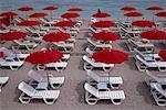 Beach Chairs and Umbrellas, Cote D'Azur, Monaco