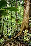 Tour Guide Looking Up at Tree, Nosy Mangabe, Maroantsetra, Madagascar