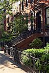 Brownstones dans Greenwich Village, New York City, New York, États-Unis