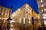 Piazza della République pendant la nuit, Florence, Italie