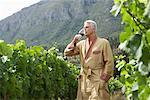 Portrait de l'homme dans le vignoble