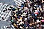 Piétons avec des parapluies au passage à Shibuya, Tokyo, Japon
