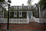 Maison avec clôture blanche, Nantucket, Massachusetts, USA