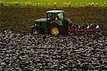 Tracteur et la charrue en champ, Arnemuiden, Zeeland, Pays-Bas