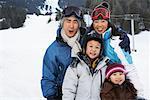 Portrait of Family on Ski Hill, Whistler, British Columbia, Canada