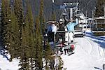 People on Ski Lift, Whistler, BC, Canada