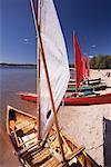 Sailing Canoes on Beach, Killbear Provincial Park, Ontario, Canada