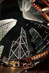 Quartier financier pendant la nuit, Hong Kong, Chine