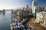 Vue d'ensemble de la ville et le port, Vancouver, Colombie-Britannique, Canada
