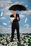 Money Raining Down on Businessman