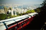 High angle view of a cable car, Victoria Peak, Hong Kong, China