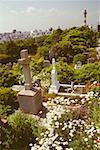 High angle view of a cemetery, Yokohama, Kanagawa Prefecture, Japan