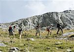 Groupe de randonneurs marchant dans le paysage rocheux