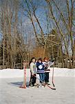 Friends on Backyard Hockey Rink