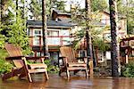 Adirondack Chairs on Dock, Chesterman Beach, Tofino, British Columbia, Canada