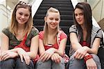 Teenagers Sitting on Escalator