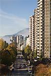 Vue des édifices de Vancouver depuis le pont Burrard, Vancouver, Colombie-Britannique, Canada