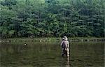 Man Fly Fishing, Cairns Pool, Beaverkill River, Catskill Park, New York, USA