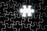 Nahaufnahme der das fehlende Stück eines Puzzles