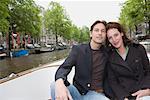 Portrait de Couple sur le bateau, Amsterdam, Pays-Bas