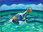 Illustration du monde dans une bouteille flottant dans l'océan