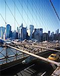 View of Manhattan from Brooklyn Bridge, New York City, New York, USA