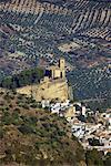Vergers d'olive et le Village, Montefrio, Andalucia, Espagne