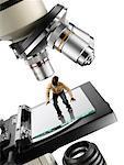 Miniature Man on Microscope