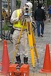 Surveyor Working in Downtown Tokyo, Japan