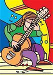 Illustration de la personne qui joue de la guitare