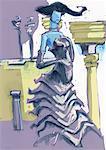 Femme habillée élégamment devant les colonnes
