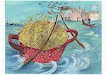 Pâtes voile dans un canal vénitien