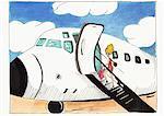 Blonde woman in little red polka dot dress boarding airplane