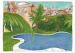 Une oasis dans une ville nord-africaine