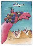 Décoré de chamelle rose avec les pyramides d'Egypte comme toile de fond
